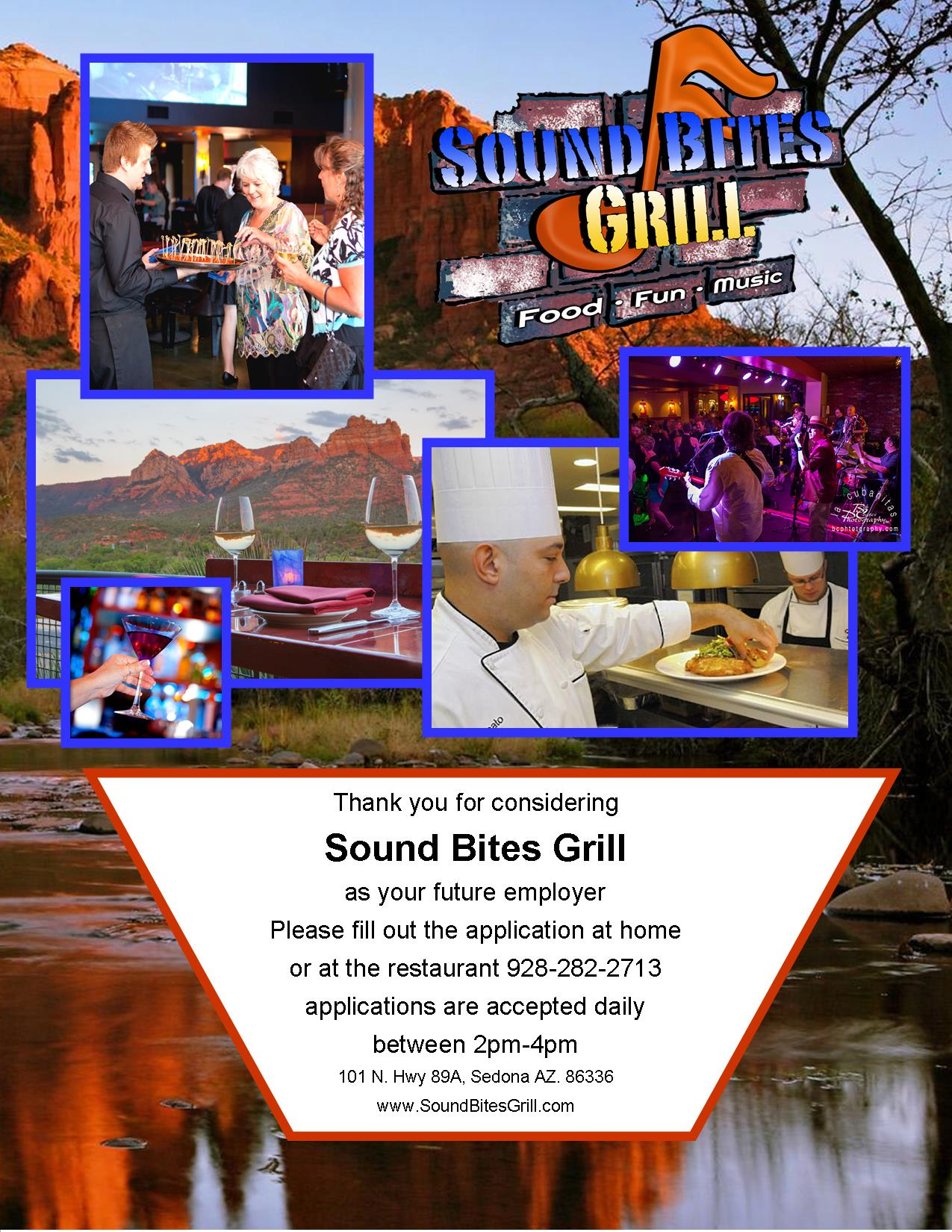 Wlecome to Sound Bites Grill Emolyment